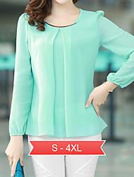 vrouwen plus size wit / zwart / groen ronde hals blouse, chiffon met lange mouwen