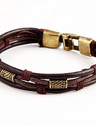 Bracelet Bracelets Cuir Quotidien Décontracté Bijoux Cadeau Noir Brun,1pc