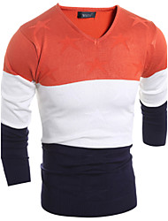 Men's Fashion Slim V-Neck Striped Stitching Knitted Sweaters,Wool / Cotton Long Sleeve Orange / Red / Yellow