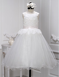 A-line Ankle-length Flower Girl Dress - Lace / Tulle Sleeveless Scoop with Lace