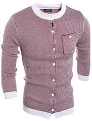 Men's Color Block Cardigan,Cotton Long Sleeve