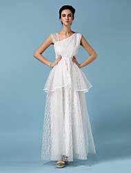 Ankle-length Organza Bridesmaid Dress - White Ball Gown Straps