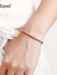 D Exceed Cubic Zircon Rose Gold Charm Ladies Bangle Bracelets Simple Design Long chain Women Rose Gold Bangle Bracelets