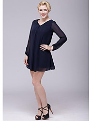 Sheath/Column Mother of the Bride Dress - Dark Navy Short/Mini Chiffon