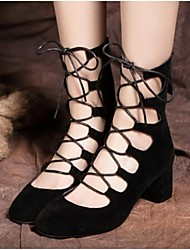 Zapatos de mujer - Tacón Robusto - Tacones - Tacones - Oficina y Trabajo / Vestido / Fiesta y Noche - Vellón - Negro