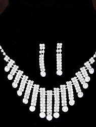 European Style Fashion Shiny Rhinestone Bridal Necklace Earring Set