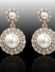 Boucles d'oreille goutte Perle Alliage Mode Blanc Orange Bijoux Mariage Soirée Quotidien Décontracté 2pcs