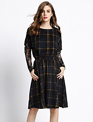 Women's Casual Check A Line Dress , Round Neck Knee-length Cotton