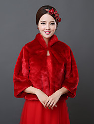 Wedding  Wraps Shrugs 3/4-Length Sleeve Faux Fur Red Wedding 34cm Open Front