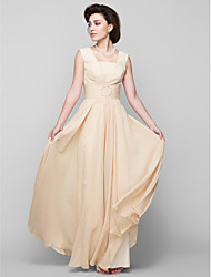 A-line Mother of the Bride Dress Floor-length Sleeveless Chiffon with Beading