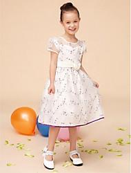 A-line Tea-length Flower Girl Dress - Satin / Tulle Short Sleeve Jewel with