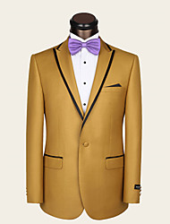 Suits Slim Fit Notch Single Breasted One-button Wool Solid 2 Pieces Yellow