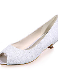Women's Spring / Summer / Fall Peep Toe Glitter Wedding / Party & Evening Low Heel Black / Ivory / White