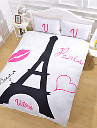 Eiffel Tower Bedding Set Romantic Cotton Fabric Duvet Cover New Year Gift for Home Bed Sheet Twin Full Queen