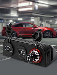 12v auto voiture cigarette prises USB légers affichage chargeur voltmètre numérique