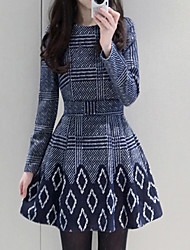 Pola Women's Print Multi-color Dresses , Casual Round Long Sleeve