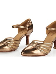 Scarpe da ballo - Non personalizzabile - Donna - Latinoamericano - Tacco a rocchetto - Satin / Pelle - Nero / Oro