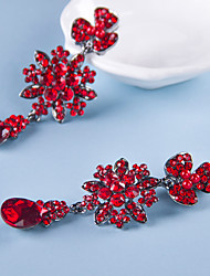 Red Goegerous Rhinestone Wedding/Party Drop Earrings