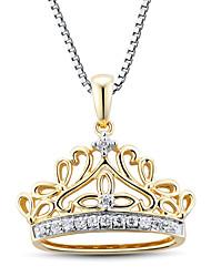 Damenmode Sterling Silber mit Zirkon-Krone Anhänger mit silve Box Kette gesetzt