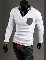 Men's V-Neck T-Shirts , Others Long Sleeve Casual Fashion All Seasons God Like