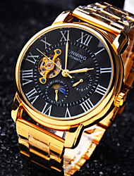 Men's Business Round Rome Numbe Dial Mineral Glass Mirror Stainless Steel Band Mechanical Waterproof Watch Wrist Watch Cool Watch Unique Watch