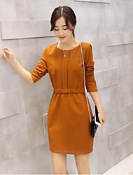 Women's Simple Waist Retro Dress