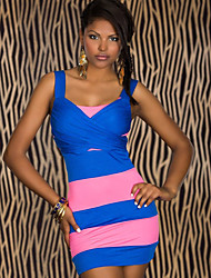 Girls Night Women's Color Block Pink / Yellow Dresses , Sexy / Casual / Party Mid Rise Sleeveless
