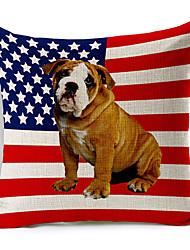 American Dog Pattern Cotton/Linen Decorative Pillow Cover