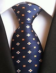 Men Wedding Cocktail Necktie At Work Blue Flower Pattern Tie
