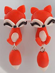 Boucles d'oreille goujon Silicone Mode Forme d'Animal Orange Rouge Bijoux Quotidien Décontracté 2pcs
