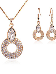 May Polly Europe hollow Rhinestone Necklace Earrings Set Round