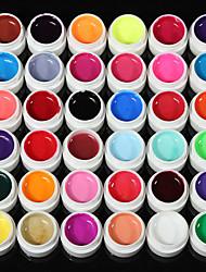 36Solid Pure Glitter Mix Color Manicure Nail Art UV Gel Builder Decor Set NEW