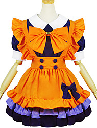 Orange Purple Polyester Maid Costume