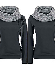 VOMIC    Women's Patchwork Black Sweats & Hoodies , Casual High-Neck Long Sleeve