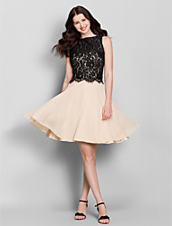 Lanting Knee-length Chiffon / Lace Bridesmaid Dress - Champagne A-line Bateau