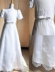 A-line Floor-length Flower Girl Dress/Communion Dress - Satin / Tulle Short Sleeve