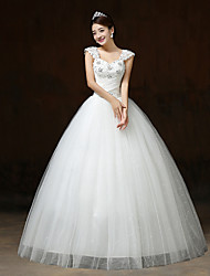 Ball Gown Wedding Dress Sparkle & Shine Floor-length Straps Lace Satin Tulle with Beading Crystal Sequin
