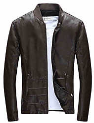 2015 new autumn and winter men's casual leather coat Metrosexual motorcycle leather jacket slim young male.