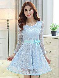 Women's Blue / Pink Dress , Lace/Party/Plus Sizes Breathable Mesh Laced – up Slim Elegant Round Neck Chiffon