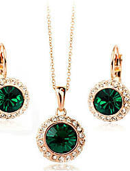 May Polly Are small crystal Pendant Necklace Earrings Set
