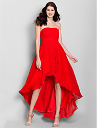 Asymmetrical Chiffon Bridesmaid Dress A-line Strapless