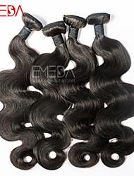 """Cabelo preto 3pcs / lot 8 """"-30"""" Remy não transformados onda corpo malaio extensões de cabelo humano natural, tece bundles"""