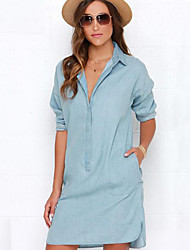 Women's Solid Blue Others Dress , Casual