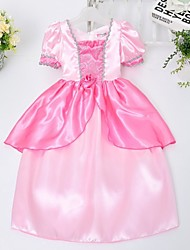 Girl's Solid Dress,Satin All Seasons Pink