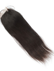 "4x4"" 8"" Brazilian Human Hair Lace Closure Free Part Natural Colour Straight Hair Top Closure Piece"