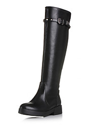 Women's Shoes Leatherette Spring / Fall / Winter Fashion Boots Boots Casual / Dress Low Heel Rivet Black / Blue