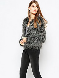 Women Faux Fur Top , Belt Not Included Winter Fur Coat