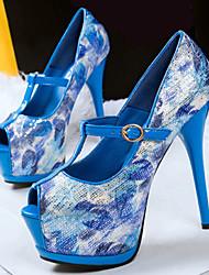 Women's Shoes Fleece Low Heel Heels / Peep Toe Sandals Casual Blue / Purple