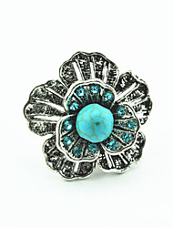 Vintage Look Antique Silver Flower Crystal Turquoise Stone Adjustable Free Size Ring(1PC)