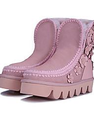 Zapatos de mujer - Tacón Plano - Botas de Nieve - Botas - Casual - Ante - Negro / Rosa